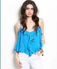 EDG SOLID TURQUOISE BLUE DRAPE CASUAL RAYON SLEEVELESS TOP BLOUSE S M L NEW