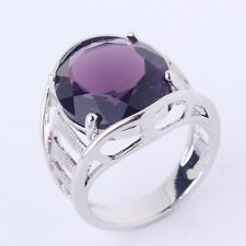 18K white gold filled Stunning Vintage purple Swarovski crystal rings Sz6to10