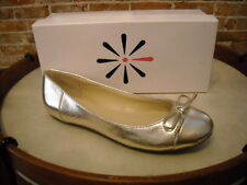 Isaac Mizrahi Fancy Platinum Leather Captoe Ballet Flats NEW