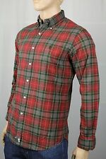 Polo Ralph Lauren Red Green Plaid Button Down Custom Fit Oxford Dress Shirt NWT