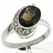 925 Silver 2.5 Ct Smoky Quartz &CZ Ring
