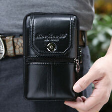 Men Genuine Leather Cell Phone Belt Hip Pouch Purse Fanny Pack Waist Hook Bag