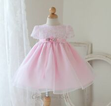 New Baby Flower Girls White & Pink Dress Easter Party Christmas Pageant USA K810