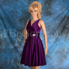 Satin Evening Dress Wedding Bridesmaid Cocktail Party Occasion 6 8 10 12 14 001