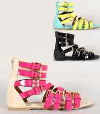 Neon PU-Leather Patent Buckle Strappy Gladiator Flat Sandal Snake Open Toe Shoes
