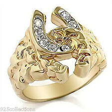 Double Link Horse Shoe April Clear Crystal Stone Two Tone Men's Ring Size 8-14