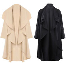 Free Womens Ladies Waterfall Fallaway Open Cape Tops Cardigan Jacket Trench Coat