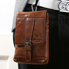 Men Genuine Leather Cell Phone Messenger Belt Pouch Hook Fanny Pack Waist Bag