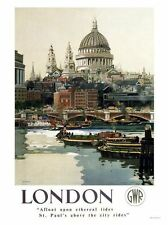 London GWR Railway Print 1947 Retro Poster Print New