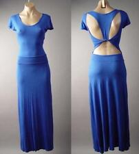 Royal Blue Cut Out Open Back Casual Lounge Jersey Long Maxi 129 df Dress L