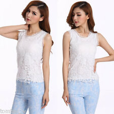 Women Sexy Floral Lace Crochet Vest Sleeveless Tank Top Tunic T Shirt Blouse