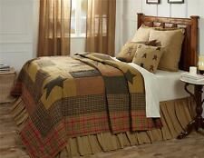 5PC STRATTON COUNTRY PRIMITIVE STAR QUEEN CAL KING QUILT SHAMS SKIRT BED SET VHC