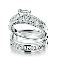 Sterling Silver wedding set CZ Princess cut Engagement Ring size 4-11 Bridal New