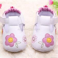 Baby Infant Girl Embroidery Flower PU Leather Shoes Toddler Soft Sole Crib Shoes