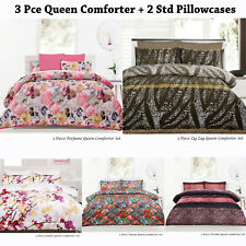 3 Pce Queen Comforter + 2 Std Pillowcases ZIG ZAG NAOMI Floral