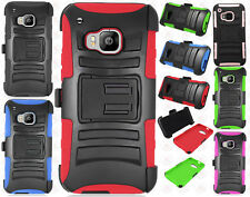 For HTC One M9 Combo Holster HYBRID KICK STAND Hard Rubber Case Phone Cover