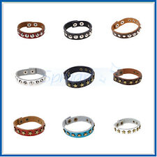 10 Choices Mens Star Rivet Studs Leather Buckle Bracelet Wristband Gothic Punk