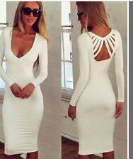 Fashion Womens Sexy V-Neck Long Sleeve Backless Bodycon Party Dress AU size 8-12