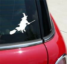 WITCH ON BROOM WITCHES HALLOWEEN GRAPHIC DECAL STICKER ART CAR WALL DECOR