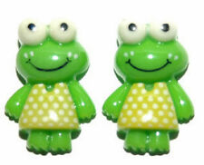 CUTE GREEN FROG STUD or CLIP ON EARRINGS (S285)