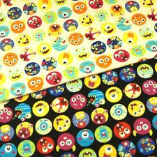 Sale Monster Dots Colourful Angry Smileys 100% Japanese Cotton Linen Fabric