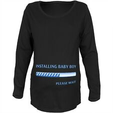 Installing Baby Boy Funny Black Maternity Soft Long Sleeve T-Shirt