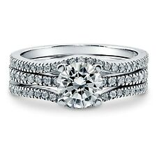 Sterling Silver Wedding set size 6 CZ Round cut Engagement Ring Bridal New w98