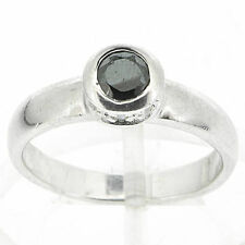 925 Sterling Silver Black & White CZ Ring Size 8 US