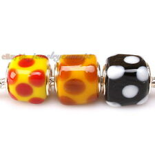 Wholesale Dots Square Colorful Lampwork Spacer Beads Fit European Bracelets 13mm