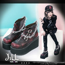 Punk rock marine private cross zipper toe platform motor chain ankle boots RD