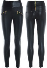NEW WET Look DISCO PANTS Womens Leggings LEATHER look SHINY HIGH WAISTED SKINNY