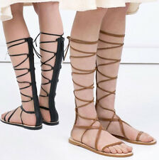 Size 5-10 Women's Leather Strappy Knee High Roman Gladiator Flat Sandals Boots