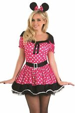 Ladies Pink Missy Minnie Mouse Fancy Dress Party Costume Outfit 8-22 Plus Size
