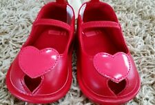 NWT Crazy 8 Infant Baby Girls SIZE 1 / SIZE 3 Red HEART Slip-on Crib Shoes NEW