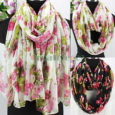 Fashion Women's Vintage Floral Print Ladies Viscose Soft Long/Infinity Scarf New