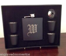 Engraved Flask Set Stainless Steel 7 Piece Black Matte Personalized Free Funnel
