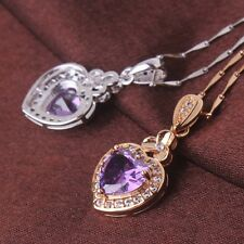 Charm 18k gold filled Luxurious Purple Swarovski crystal Pendant necklace 18""
