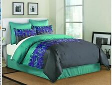 PEACOCK FEATHER SATIN COMFORTER  SHAMS BEDDING GREEN GRAY BLUE/PURPLE NEW