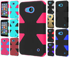 For Nokia Lumia 640 IMPACT TUFF HYBRID Protector Case Skin Cover +Screen Guard