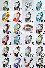 New Fashion 20MM Watch Band Nylon Strap Quartz Sport Wristwatch Multicolor U46F2