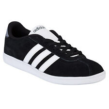 Mens adidas Neo Vlneo Court Suede Trainers In Black ADITRAIN