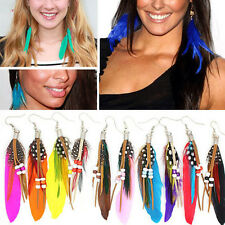 Fashion Long Colorful Goose Feather Dangle Eardrop Hook Earrings Pure Handmade
