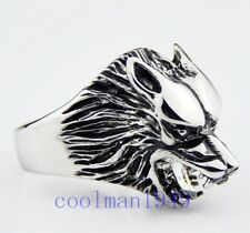 cool Wolf head Stainless Steel Ring A90