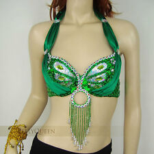 Handmade Beaded Belly Dance Dancing Costume Bra Top 32-34B Sequins Beads