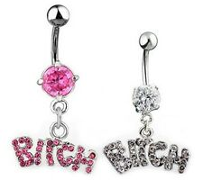 Sexy Bitch Crystal Body Piercing Surgical Button Belly Rings Jewelry Navel Bars