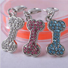 New Rhinestone Collar Charm Bone Shaped Jewelry Pendent Pet Tag Dog Accessories