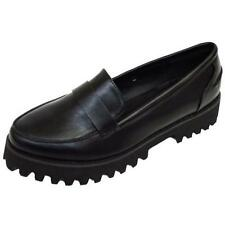LADIES BLACK DOLCIS LOAFERS SLIP-ON CLEATED FLAT PLATFORM WORK SHOES SIZE 3-8