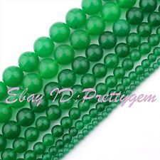 6mm 8mm 10mm Smooth Round Green Jade Gemstone Jewelry Making Spacer Beads 15""