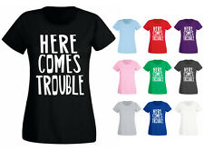 Womens Here Comes Trouble Funny Slogan T-shirt NEW UK 6-18