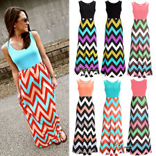 Sexy Summer Women Chevron Sleeveless Boho Long Maxi Dress Full-Length Beachwear